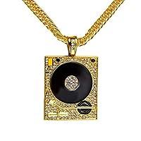 Europe Fashion 18k Gold Plated Hip Hop Men's Punk Style DJ Phonograph Pendant Necklace Men Rock Rap Cuban Chain Necklace