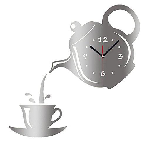 Zarupeng DIY Teekanne Wanduhr, Wand Uhr Spiegeleffekt Kaffeetasse Form Wandaufkleber Dekoration Home Küche Decor, Retro Style- kein nerviges Ticken (One Size, Silver)