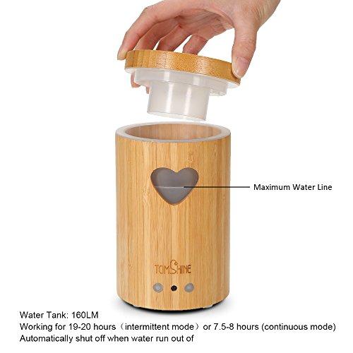 Tomshine 160LM Bambus Luftbefeuchter Holzmasserung Aroma Diffusor Humidifier mit Fernbedienung 7 Lichtfarben, Niedrigwasserschutz,4 Zeiteinstellung für Yoga Kinderzimmer Schlafzimmer Krankenhaus Büro - 5