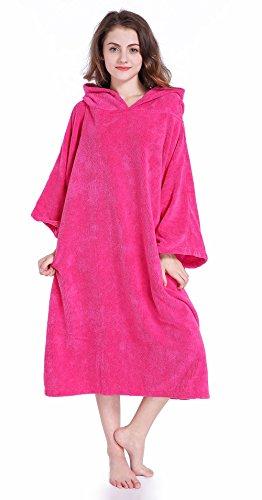 Winthome Kapuzentuch für Erwachsene Herren Damen Bademantel mit Kapuze Beach Farbwechsel Beach poncho handtuch Schwimmen(pink)