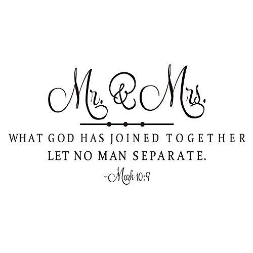 KYSUN Wandtattoo Mr. & Mrs. What God Has Joined Together Let No Man Separate (englischsprachig), Vinyl