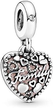PANDORA Love Makes A Family Dangle Charm, Pink Enamel & Clear CZ 796459