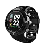DT NO1 F18 Outdoor Sports Smart Watch,IP68 Waterproof Technology Bluetooth Smartwatch Wrist Heart Rate Monitor Pedometer Sleep Analysis Calorie Counter GPS Fitness Tracker (Black)