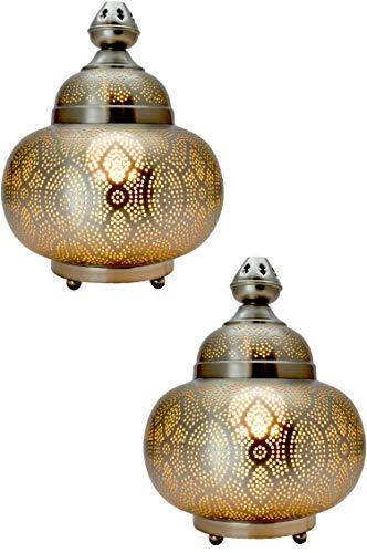 2er Set Orientalische kleine Tischlampe Lampe Kayla 30cm Silber   Marokkanische Tischlampen klein aus Metall, Lampenschirm silberfarben   Nachttischlampe modern, Vintage, Retro & Landhaus Stil Design