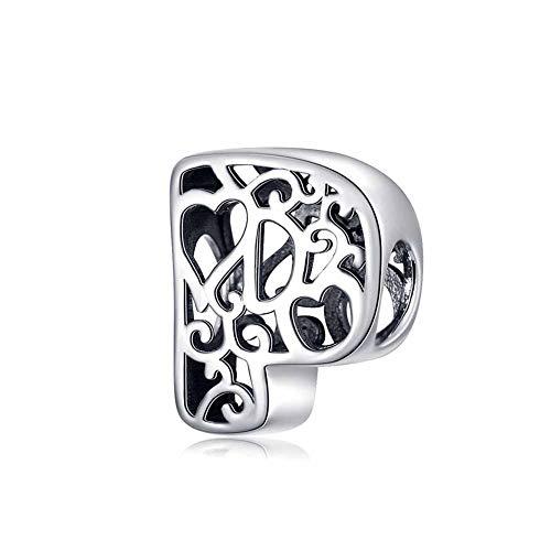YJEW 925 Sterling Silber Charm Bead 26 Buchstaben Alphabet Initial Personalisierte Frau Hohl Charms Perlen Kompatibel Europa Armband & Halskette,P