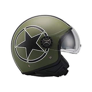 AL Helmets DEMI-JET HELM MODELL 101/BIS GRÜN-SCHWARZ MATT - DOPPELVISIER GRÖßE M