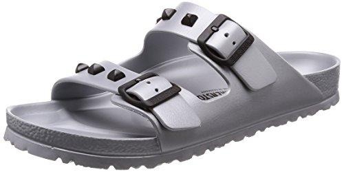 BIRKENSTOCK Damenschuhe Arizona Eva Stud aus Eva, Badeschuh, mit softem Fußbett, Silber (Silver), EU 43, Normal