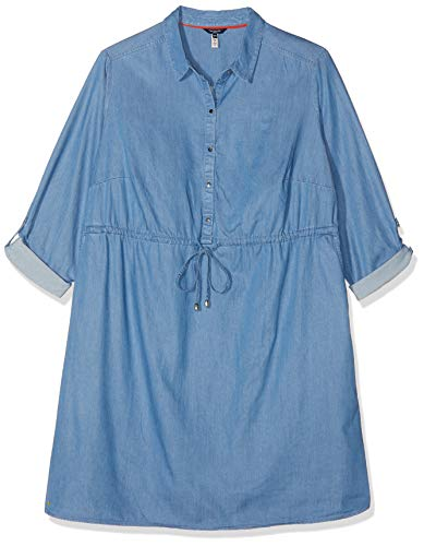 TOM TAILOR Damen Größen-Jeanskleid Kleid, Blau (Mid Stone Bright Blu 10152), 48