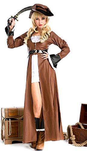 Fancy Me Damen 4 Stück Sexy Deluxe Piraten-Party Kostüm Kleid Outfit - Braun, 8-10 (Piraten Kostüm Deluxe Damen)