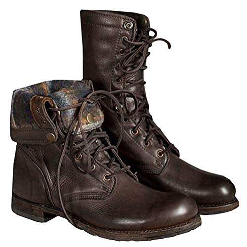 ORANDESIGNE Herren Motorradstiefel Winter Männer Leder Kurzschaft Stiefel Unisex-Erwachsene Schneestiefel Combat Worker Boots Braun 42 EU