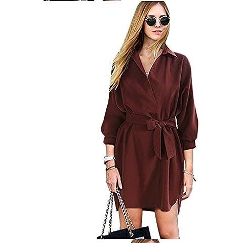 XJoel para mujer de la cintura de Split Recoger Vestido tubo decoración del botón con la correa Claret-roja M