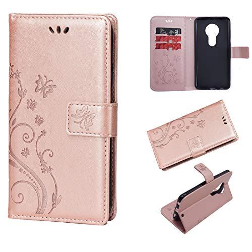 Schutzhülle für Moto G6 Play, Leder, Kartenfächer, Magnetverschluss, Klappständer, stoßfest, geprägter Schmetterling, kompatibel mit Motorola Moto G6 Play, Rose Gold