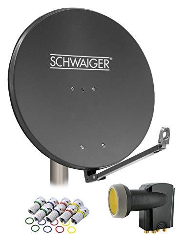 SCHWAIGER -4609- Sat Anlage, Satellitenschüssel mit Quad LNB (digital) & 8 F-Steckern 7 mm, Sat Antenne aus Aluminium, Anthrazit, 88 x 88 cm