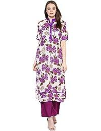 Jaipur Kurti Cotton White Kurta With Purple Rayon Palazzo Pants
