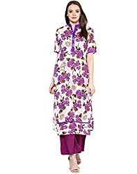 Jaipur Kurti Cotton White Kurta With Purple Rayon Palazzo Pants