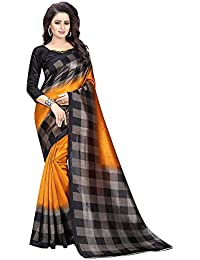 PINK WISH Saree ( sarees for women latest design sarees new collection 2017 sarees below 1000 rupees sarees for women party wear sarees below 500 rupees party wear sarees for women latest design party wear sarees below 300 rupees Black & Orange Color Georgette Fabric Sari with Unstitched Blouse Piece )