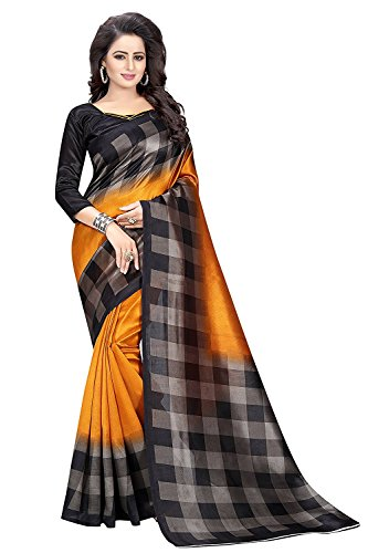 PINK WISH Saree ( sarees for women latest design sarees new collection 2017 sarees below 1000 rupees sarees for women party wear sarees below 500 rupees party wear sarees for women latest design party wear sarees below 300 rupees Black & Orange Color Georgette Fabric Sari with Unstitched Blouse Piece )  available at amazon for Rs.425