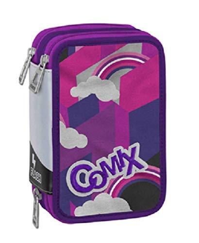 Astuccio scuola comix flash triplo rosa viola 3 zip completo prodotto ufficiale