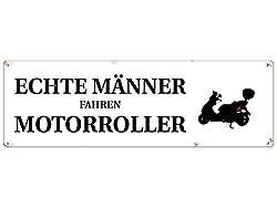 Interluxe METALLSCHILD Blechschild ECHTE MÄNNER Fahren Motorroller Zweirad Spruch Deko