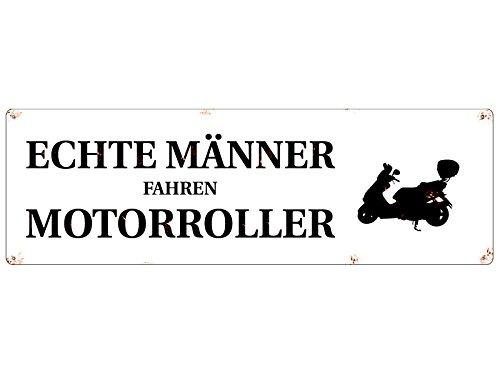 Preisvergleich Produktbild METALLSCHILD Blechschild ECHTE MÄNNER FAHREN MOTORROLLER Zweirad Spruch Deko