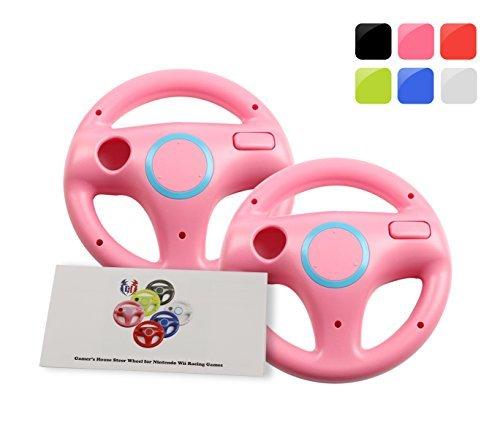 Wii U Wii Lenkrad Original Weiß für Rennspiele Mario Kart Racing Wheels rosa 2 Pack Peach Pink (Plus Remote Pink Wii)