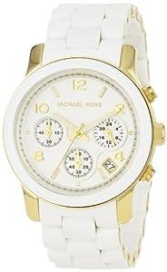 Reloj Michael Kors MK5145 de cuarzo para mujer con correa de acero inoxidable bañado, color blanco de Michael Kors