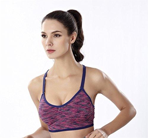 YeeHoo Donne rimovibile imbottito supporto reggiseno Yoga Workout Rosso