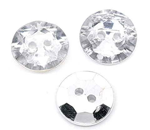 10 x Large Plastic 30mm Crystal Faux Diamond Round Rhinestone Sewing Buttons