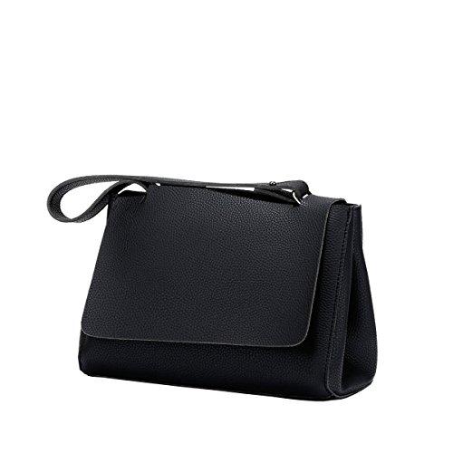 DISSA S894 neuer Stil PU Leder Deman 2018 Mode Schultertaschen handtaschen,285×120×200(mm) Schwarz