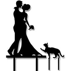 elegantstunning Kuchen Cake Topper Tortenstecker Tortenverzierung Tortenaufsatz Monogramm Topper Farbwahl fuer Hochzeit und Geburstag Schwarz Braut Bräutigam und Katze