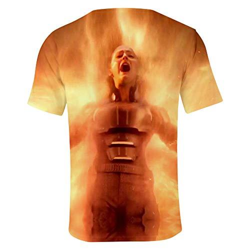 SUNCHTX Unisex para Hombre De Manga Corta De Hombre Blusas De Verano Slim Fit Running Camiseta 3D X-Men Dark Phoenix XXXL