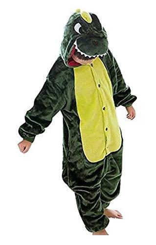 Kinder Einhorn Tier Dino Kostüme Flanell Pyjama Schlafanzug Mädchen Jungen Winter Nachtwäsche Tieroutfit Cosplay Jumpsuit (Dinosaurier, Körpergröße 125-134cm (Größe ()