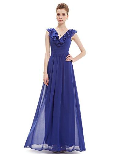 Ever Pretty V-Neck Empire Taille ärmelloses Sommer Abendkleid 38 Saphirblau (Empire-taille V-neck Kleid)