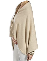 Buttoned Cashmere Poncho - Soft Barley by Catherine Robinson