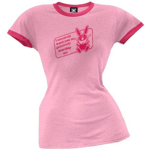 Happy Bunny–Verehrung Me Junioren Ringer T-Shirt Gr. Small, hellrosa (Bunny Ringer)