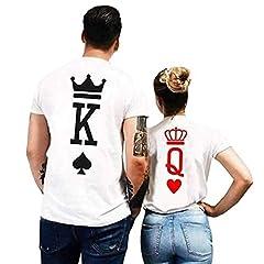 Idea Regalo - King Queen T-Shirt Coppia Abbinata Set Manica Corta Top Valentines Fidanzato Fidanzato Marito Moglie Amore Fresco Regalo Divertente Presente Estate Uomo Donna Camicie