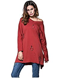 SODIAL(R) Women New Fashion Shirts Loose Personality Ring Long Sleeved Long T Shirt Sweatshirt Casual Tops(Wine Red,M/US-6/UK-10)