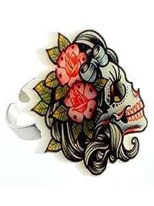 Bague Tête de Mort Tatouage Femme Punky Pins