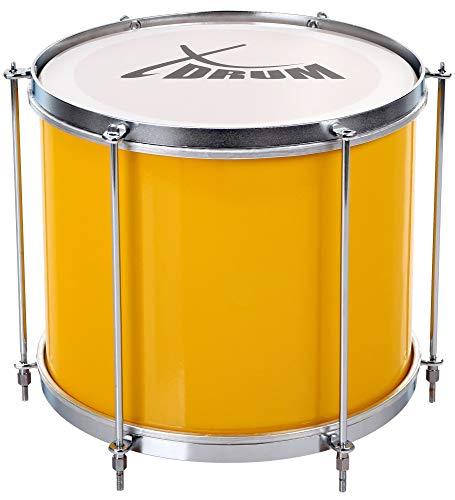 """XDrum SSD-1210 Repinique, brasilianische Samba Trommel 12"""" x 10"""" (3 kg, Aluminium, 6 Spannstangen) gelb-silber"""