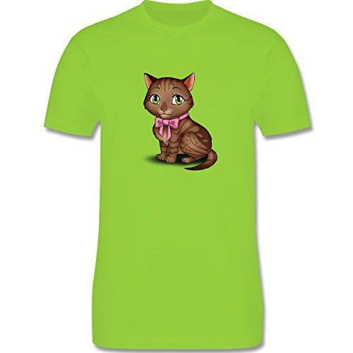 Katzen - Kätzchen mit Schleife - Herren Premium T-Shirt Hellgrün