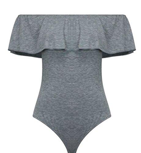 Fashion Essential-Ladies Frill Off Shoulder Bardot Bodysuit Stretch Party Leotard Kaki