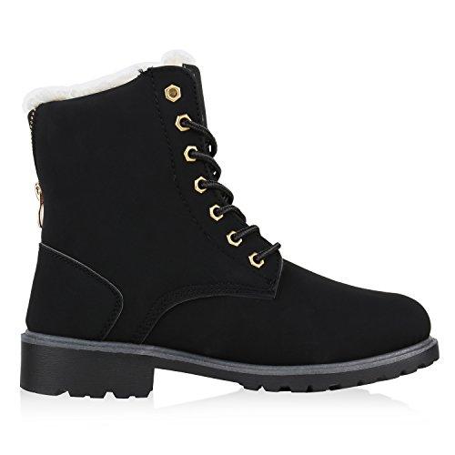 napoli-fashion Gefütterte Damen Schuhe Worker Boots Nieten Stiefeletten Kunstfell Jennika Schwarz Black