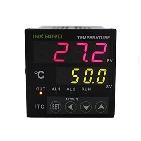 Inkbird Dual Digital PID Temperature Controller 2 Omron Relay Output ITC-100RH 220V,Intelligent Thermocouple Heating Cooling Control for Aquarium,Brewing,Household,Lab