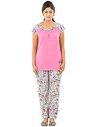 New Darling Womens SHOCKING PINK GREY MEL. AOP Cotton Pyjama Sets