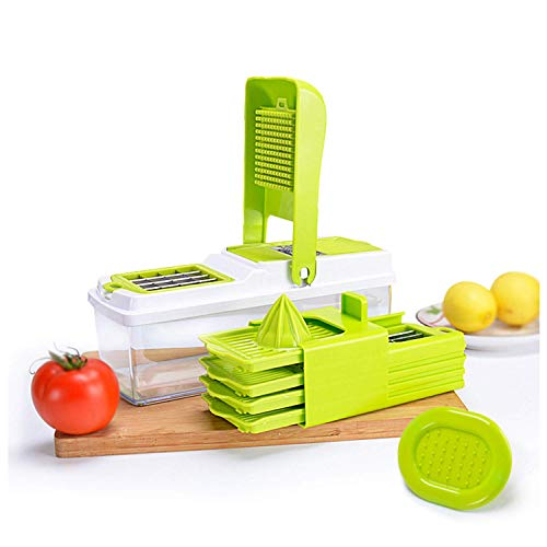 AZWE 8 in 1 Gemüsehacker, neuester Multi-Funktions-Gemüsehobel, Mandoline Slicer mit 7 Wechselklingen + Entsafter + Spirale + Abs Container, bpa geben frei