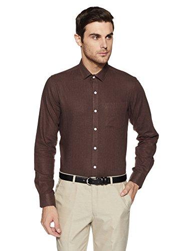 Excalibur Ex Men's Solid Regular Fit Formal Shirt (400017406794_Brown_42)