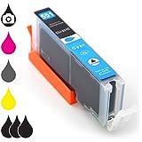 Druckerpatrone Tintenpatrone CLI-551C XL mit Chip Füllstandsanzeige kompatibel mit Canon Pixma Tintenstrahl-Drucker – 15ml Cyan blau
