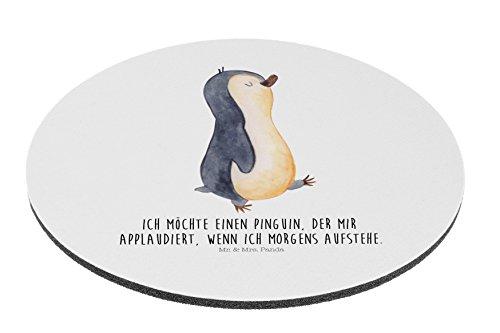 Mr. & Mrs. Panda Mauspad rund Pinguin marschierend - 100% handmade in Norddeutschland - Pinguin, Pinguine, Frühaufsteher, Langschläfer, Bruder, Schwester, Familie Mouse Pad rund, Mousepad, Computer, PC, Kreis, Mauspad, Maus, Geschenk, Druck, Schenken, Motiv, Arbeitszimmer, Arbeit, Büro