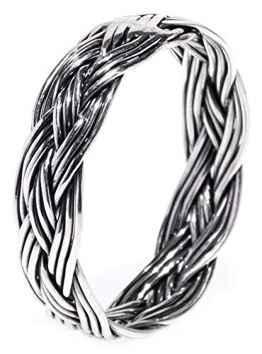 WINDALF Geflochtener Wikingerring ZÄERA h: 0.5 cm Flecht-Muster handgeschmiedet 925 Sterlingsilber (Silber, 66 (21.0))
