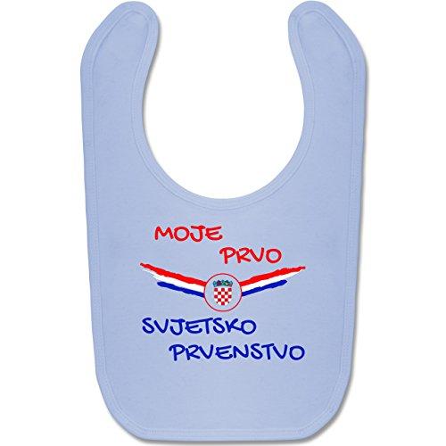 Europameisterschaft 2020 - Baby - Meine erste WM Kroatien kroatisch - Unisize - Babyblau - BZ12 - Baby Lätzchen Baumwolle ()